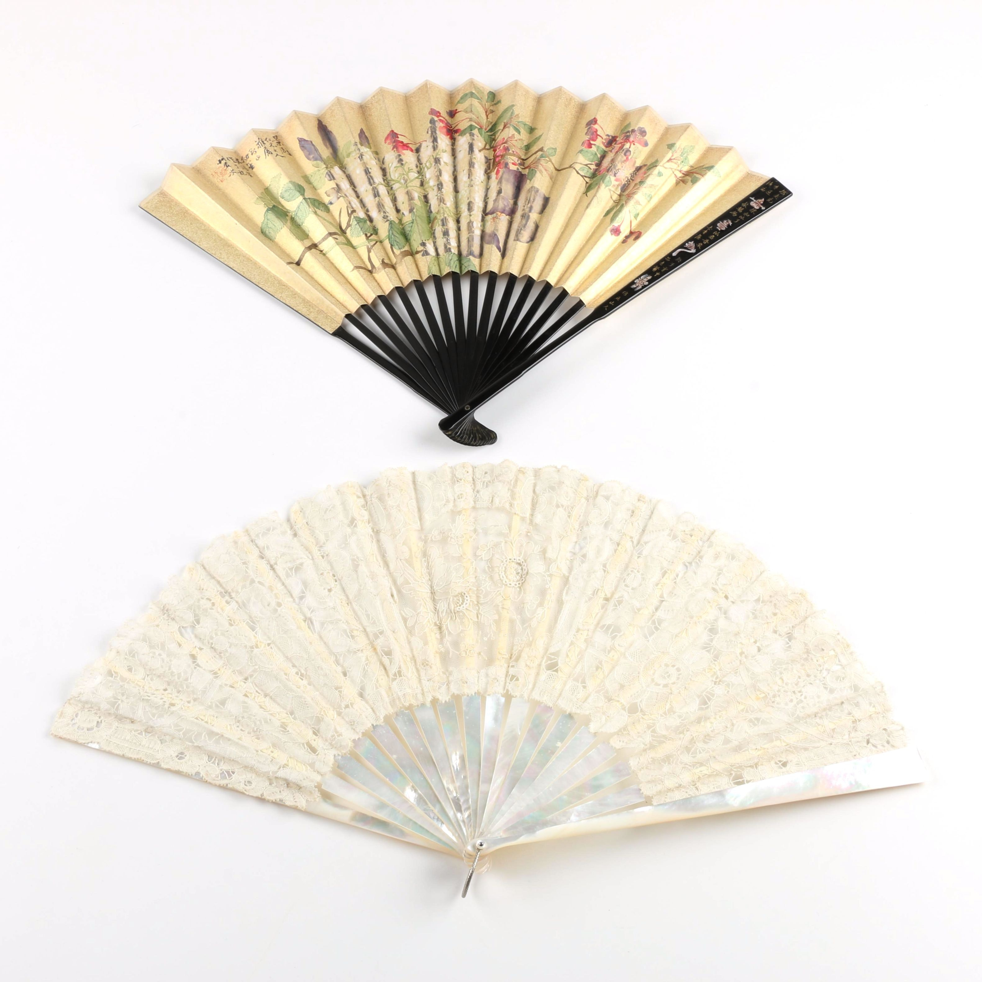 Two Folding Fans with Mother of Pearl
