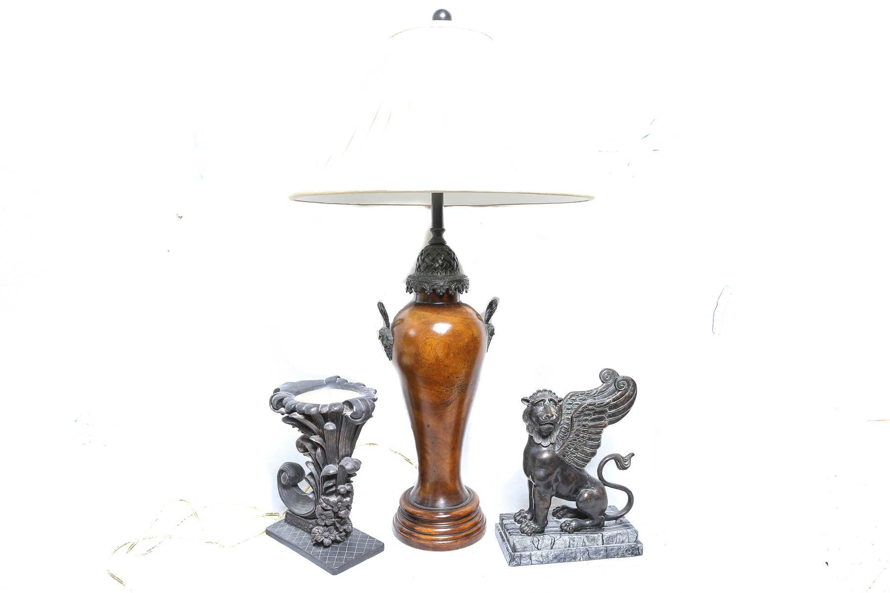 Carved Wooden Lamp and Decor