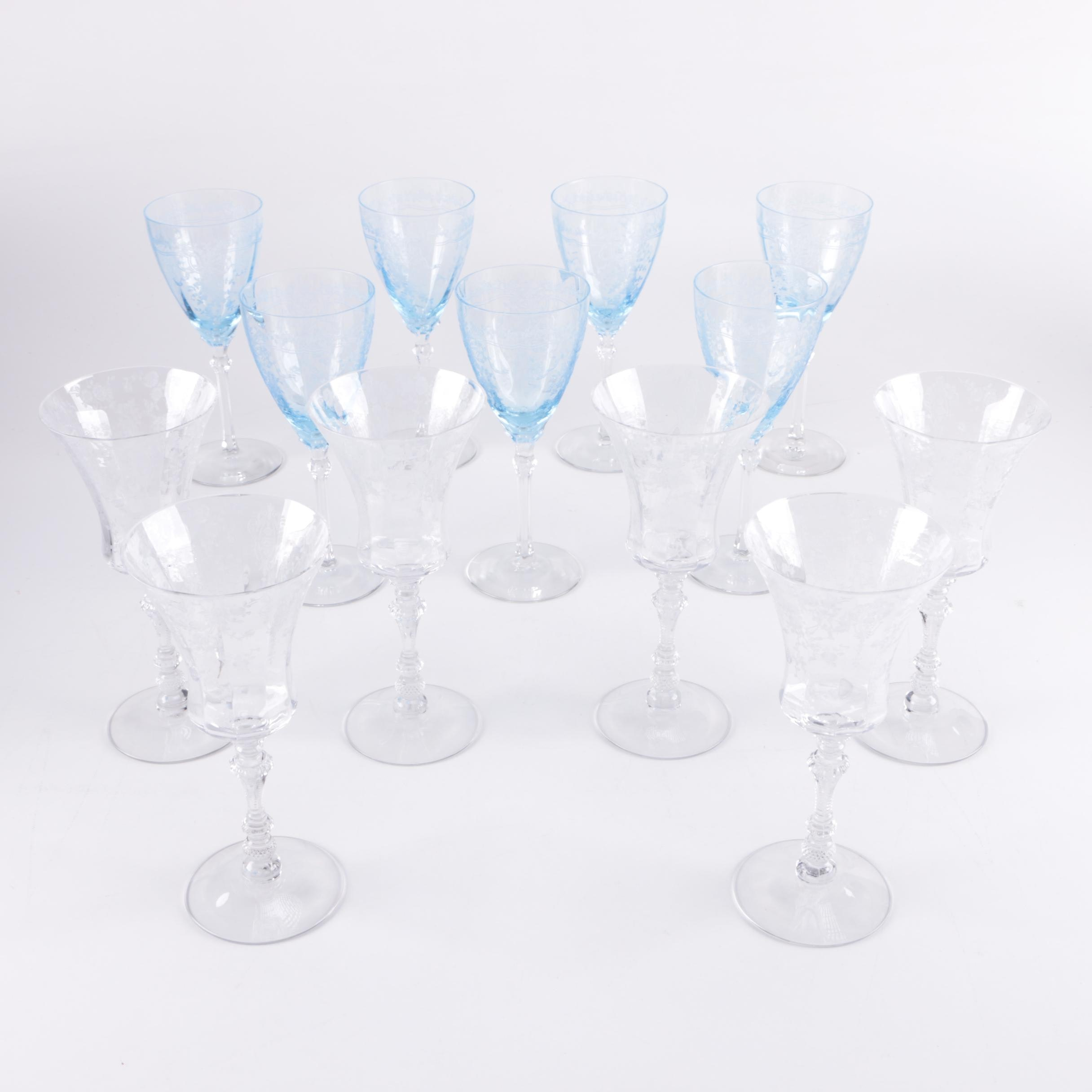 """Etched Stemware Including Fostoria """"June"""" and"""