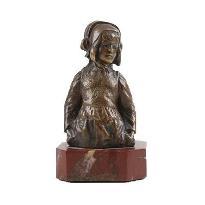 Paul Ludwig Kowalczewski Bronze Dutch Girl Bust on Marble Base