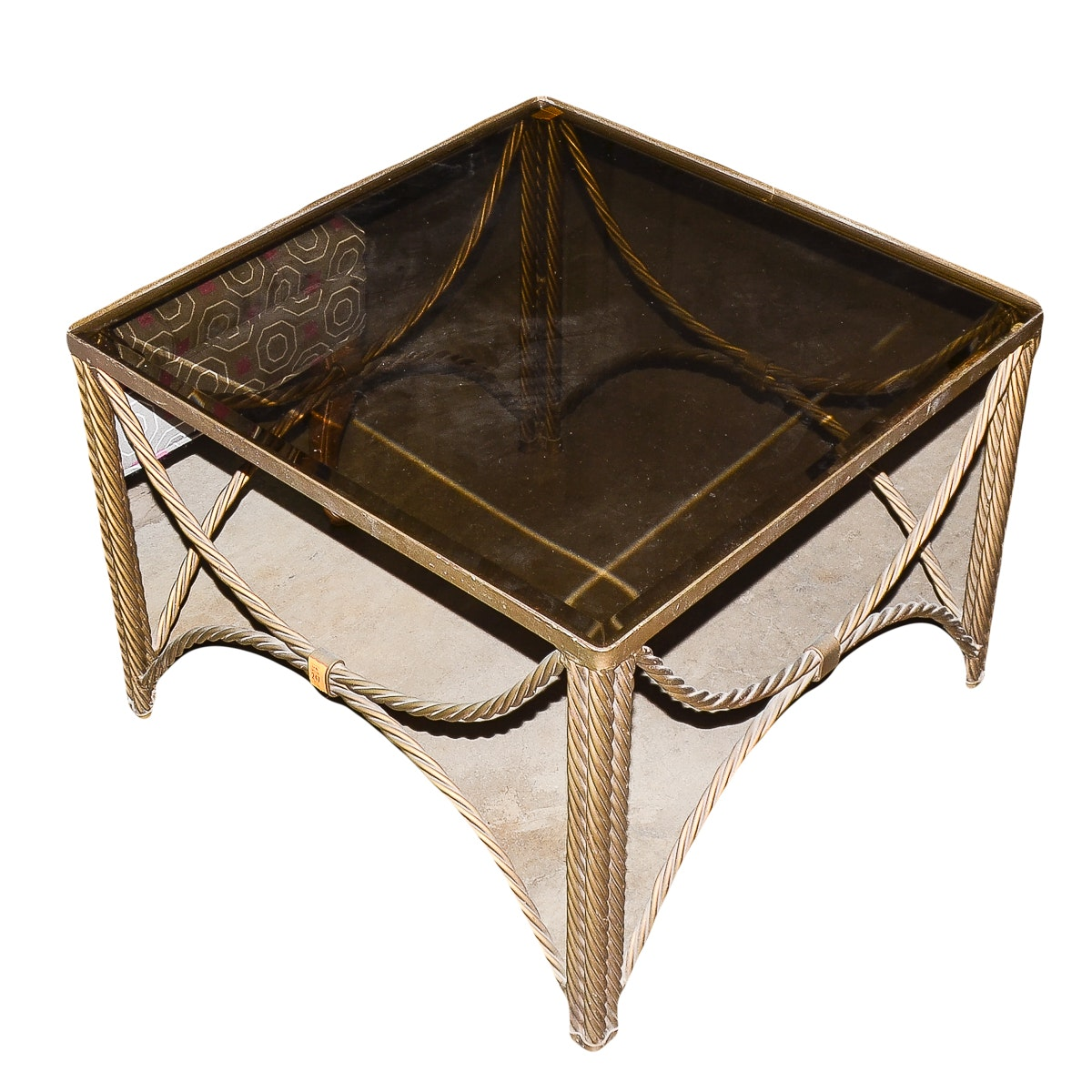 Hollywood Regency Style Glass Top and Twisted Metal End Table