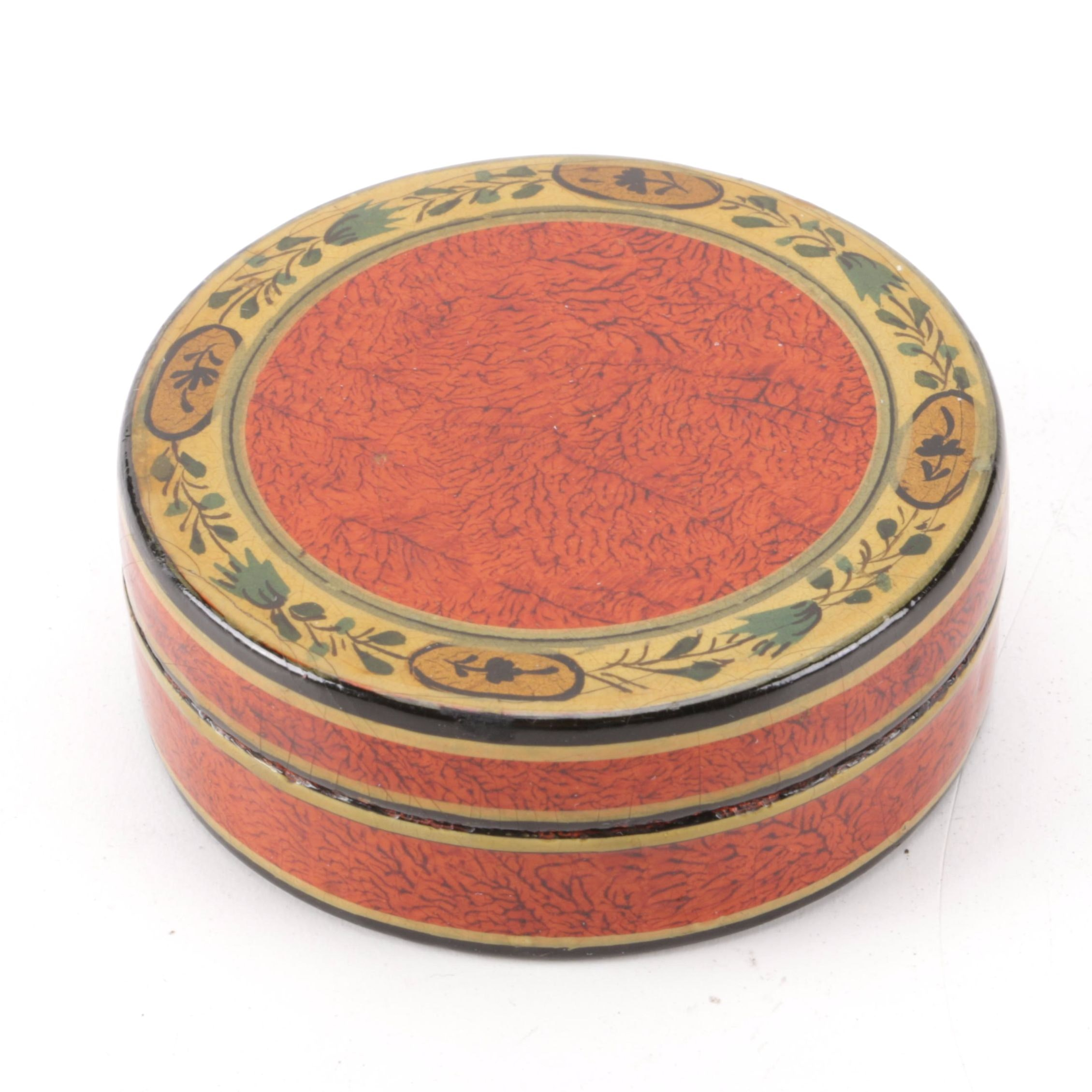 Antique French Vernis Martin Lacquered Trinket Box