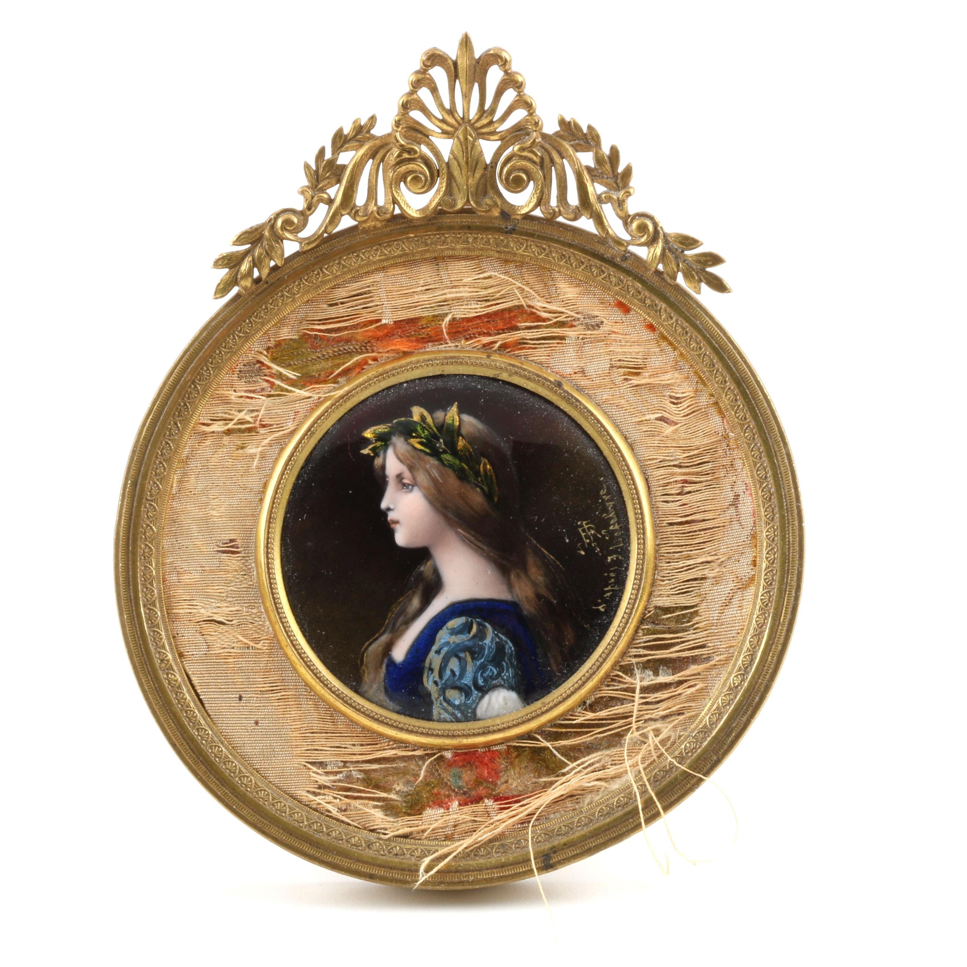 19th-Century French Limoges Foiled Enamel Portrait Plaque