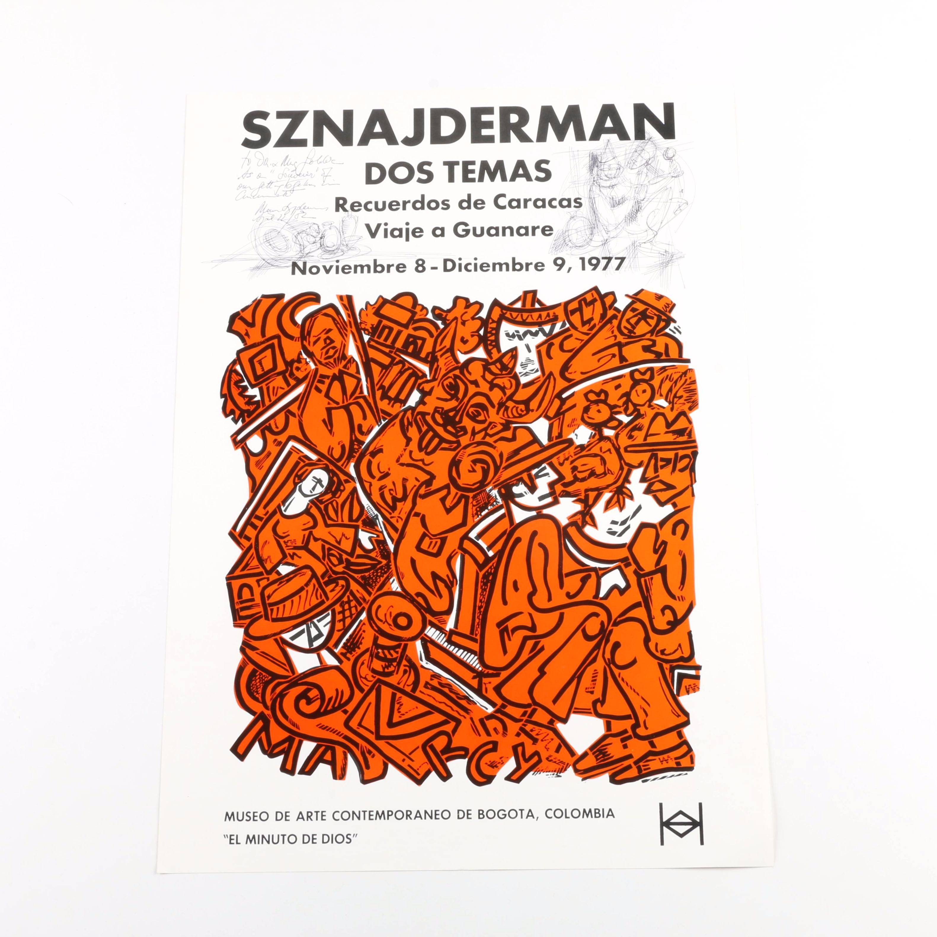 Marius Sznajderman Serigraph Exhibition Poster Signed and Personalized with Drawing