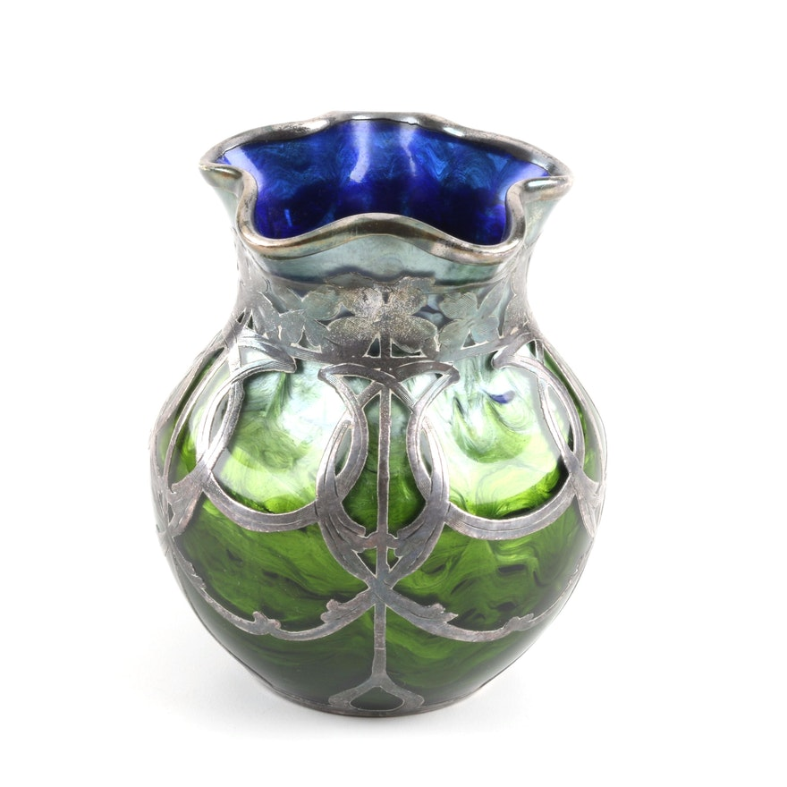 Circa 1900 Loetz Titania Glass Vase with Sterling Silver Overlay