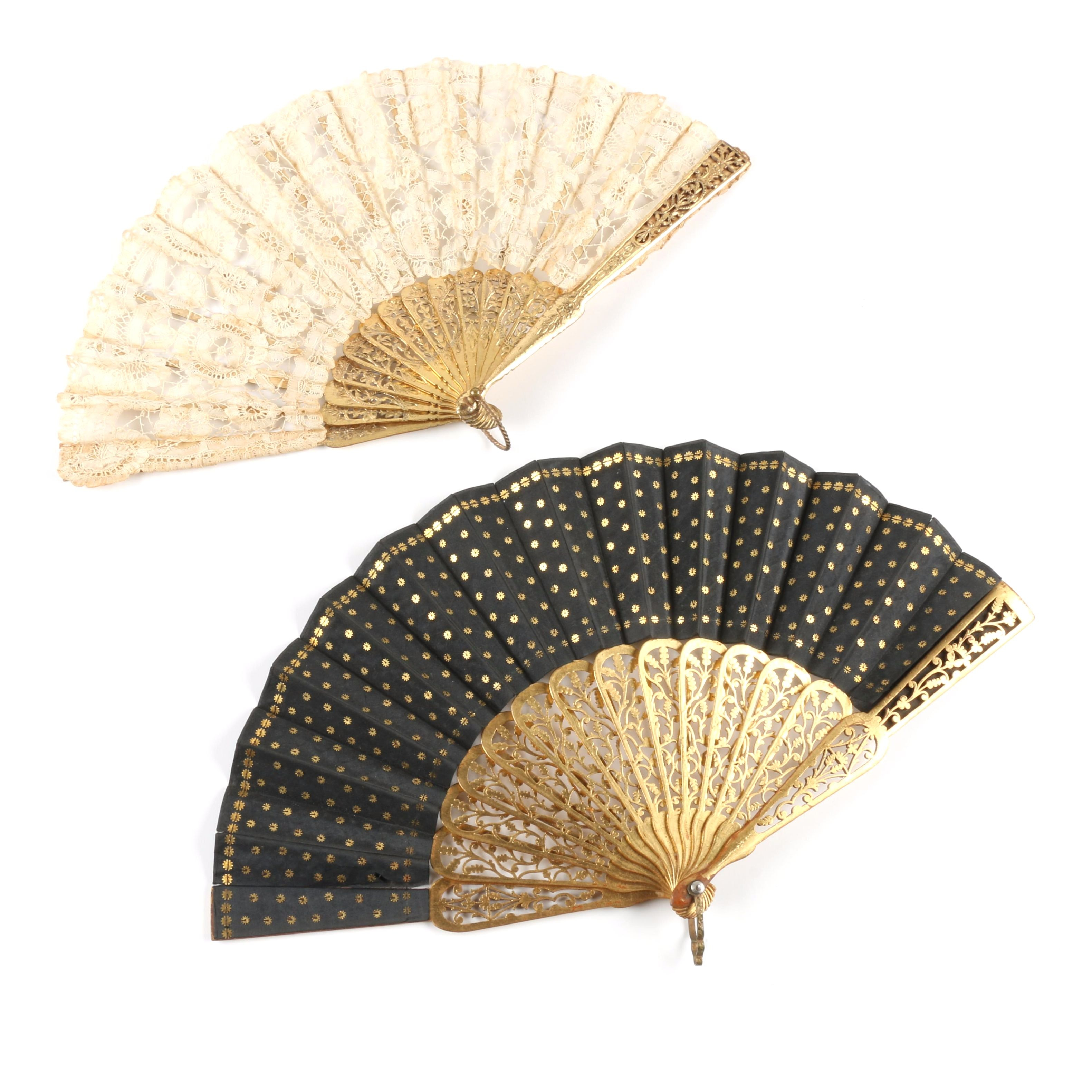 Pair of  Folding Fans with Gilt Sticks and Guards