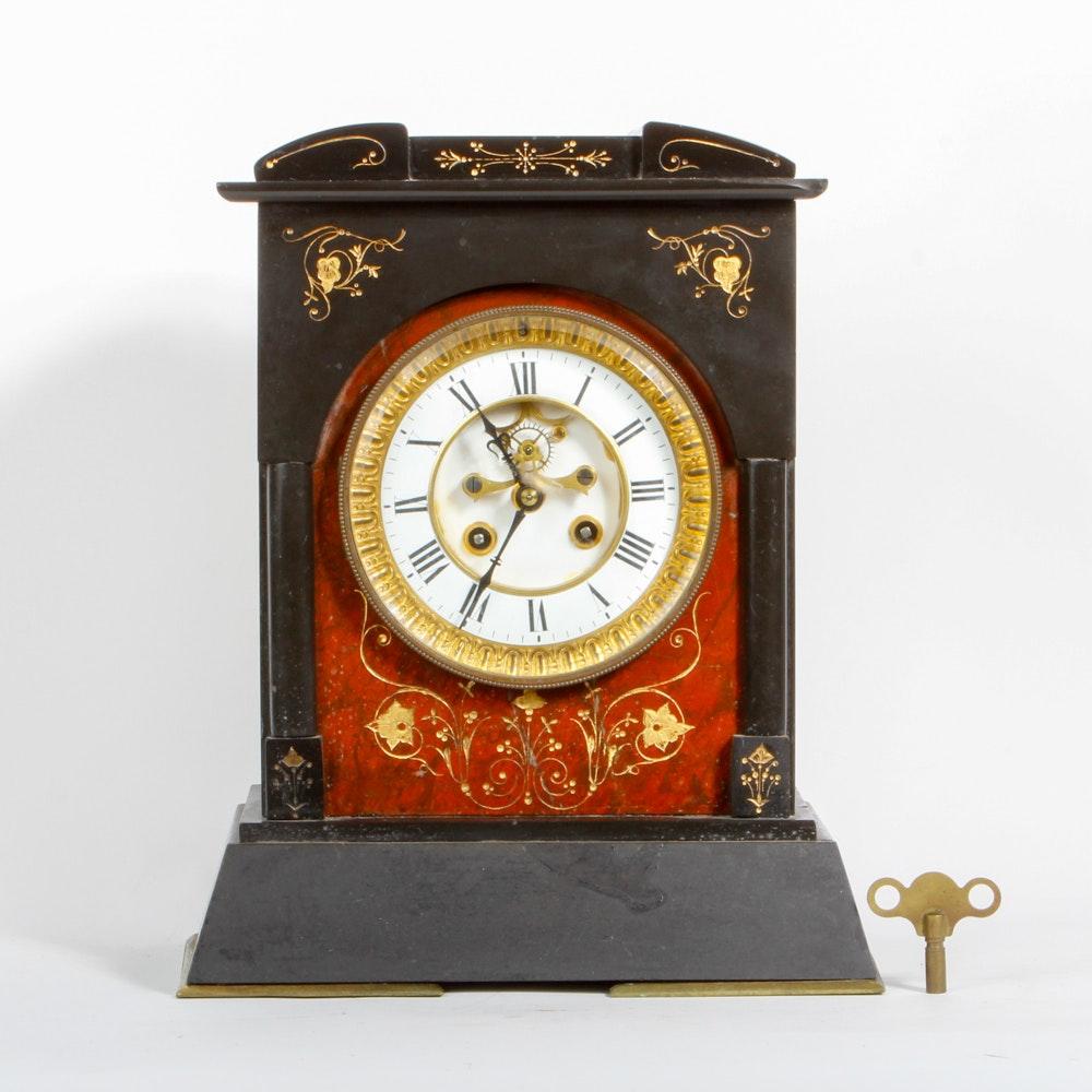 Vintage Tole Painted Wood Mantel Clock