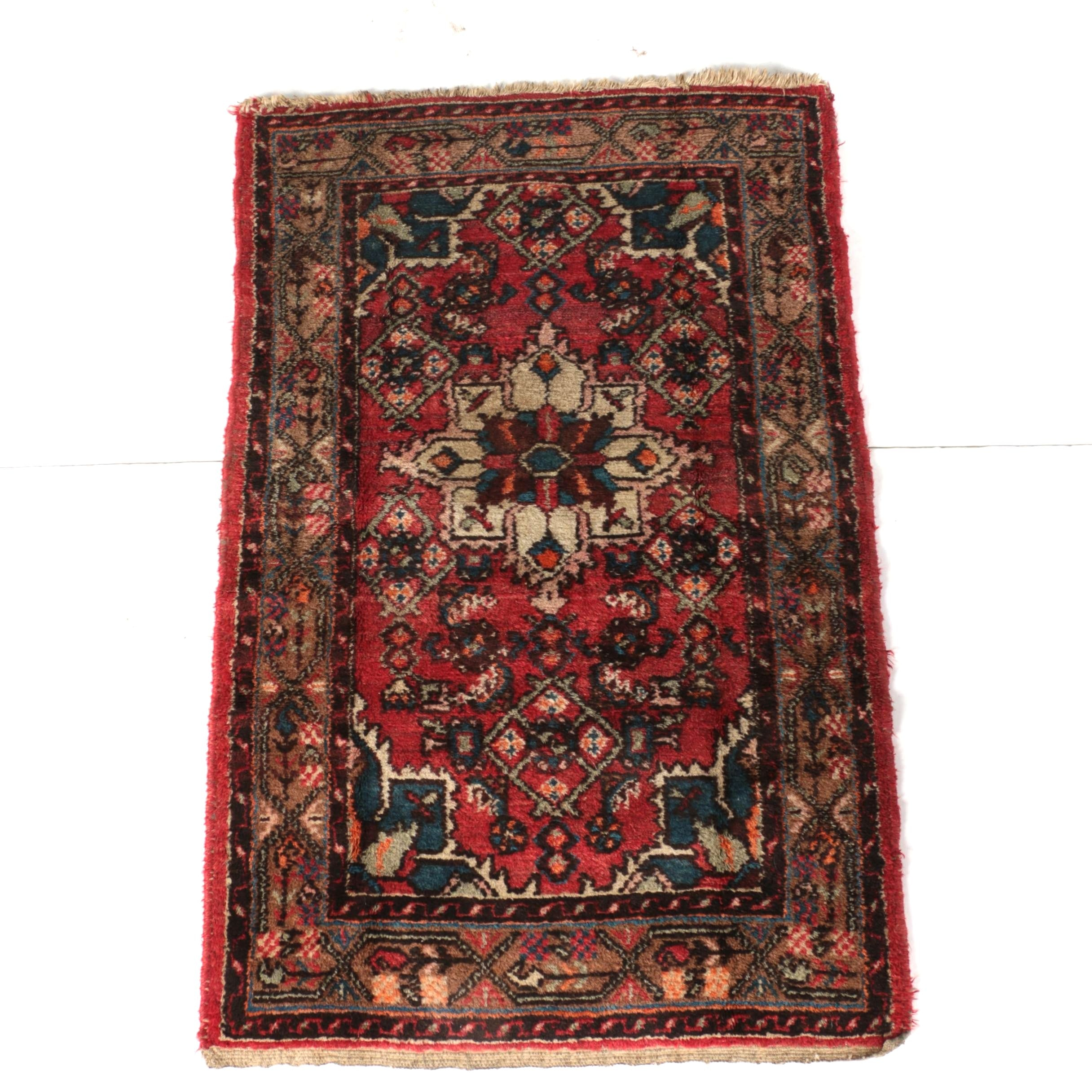 Semi-Antique Hand-Knotted Persian Hamadan Accent Rug