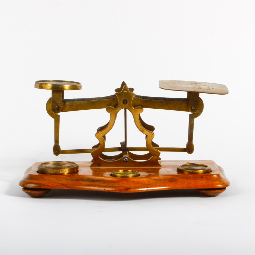 Vintage Brass and Wood Postal Scale