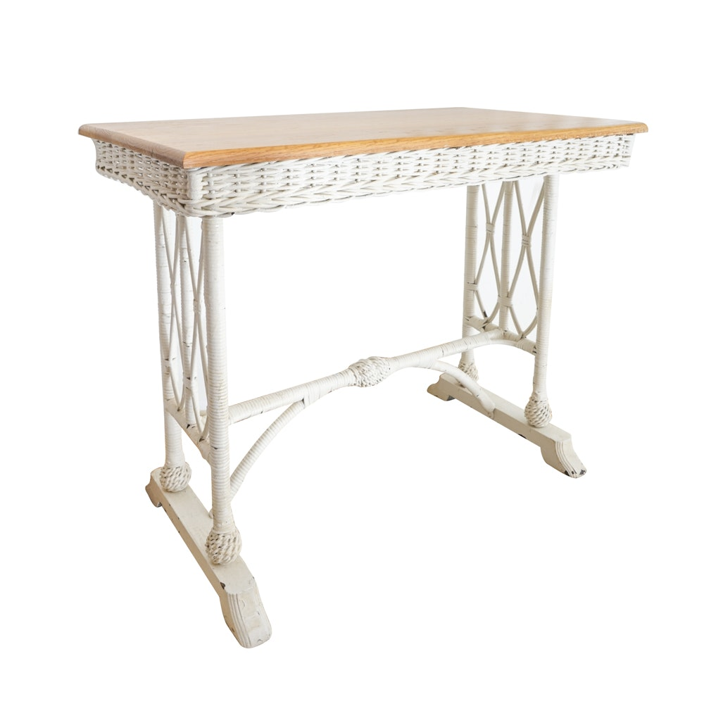 Wicker Weave Accent Table With Oak Top