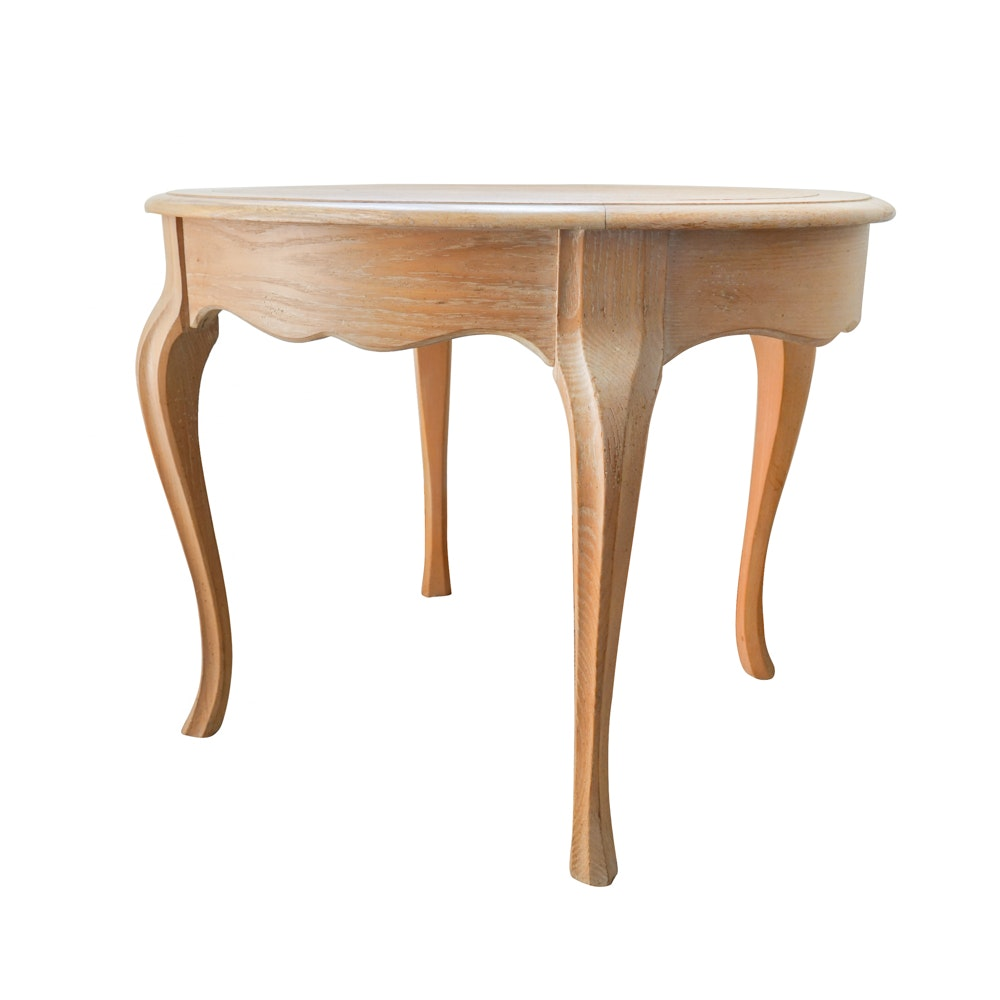 Queen Anne Style Oval Accent Table in Distressed White