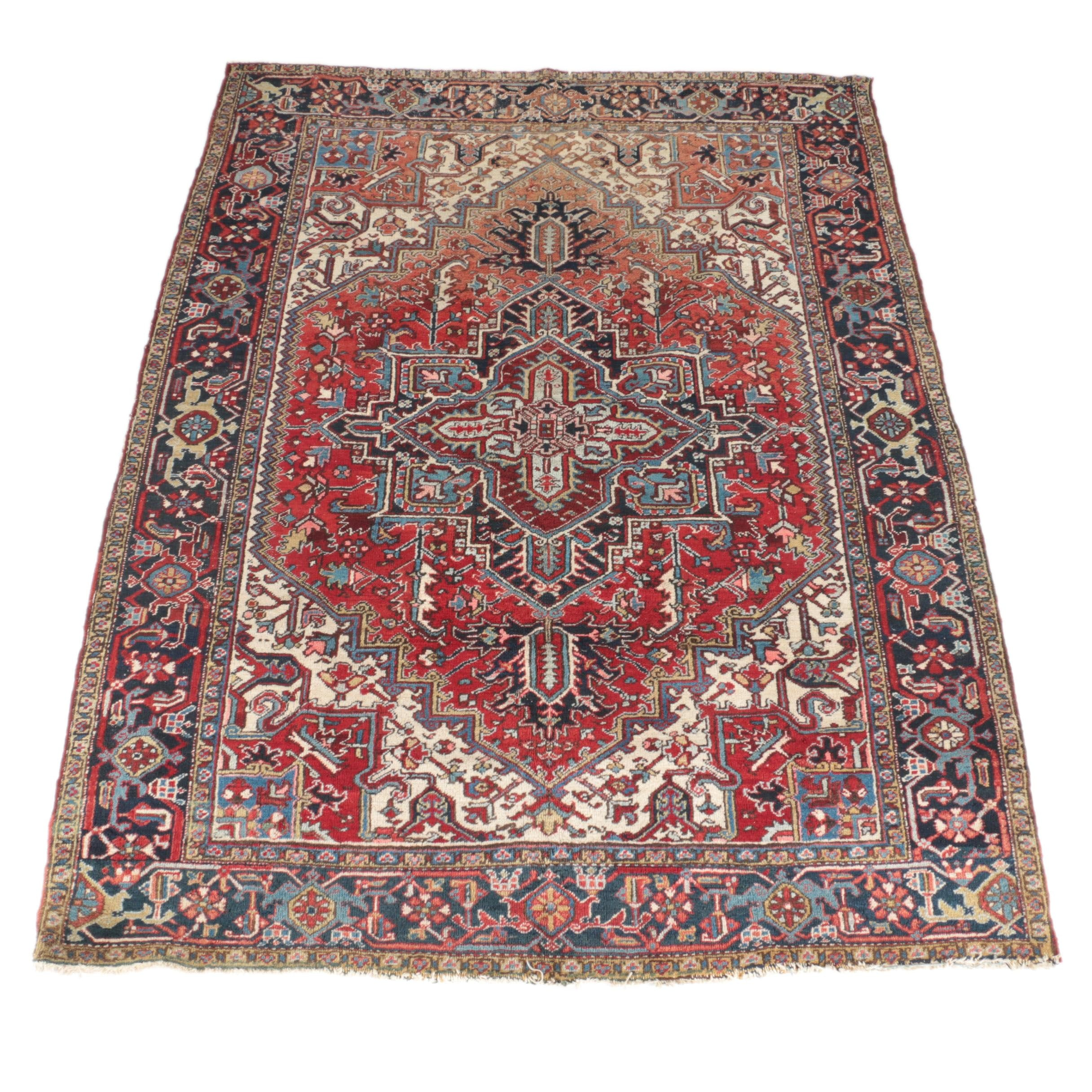 Semi-Antique Hand-Knotted Persian Heriz Area Rug