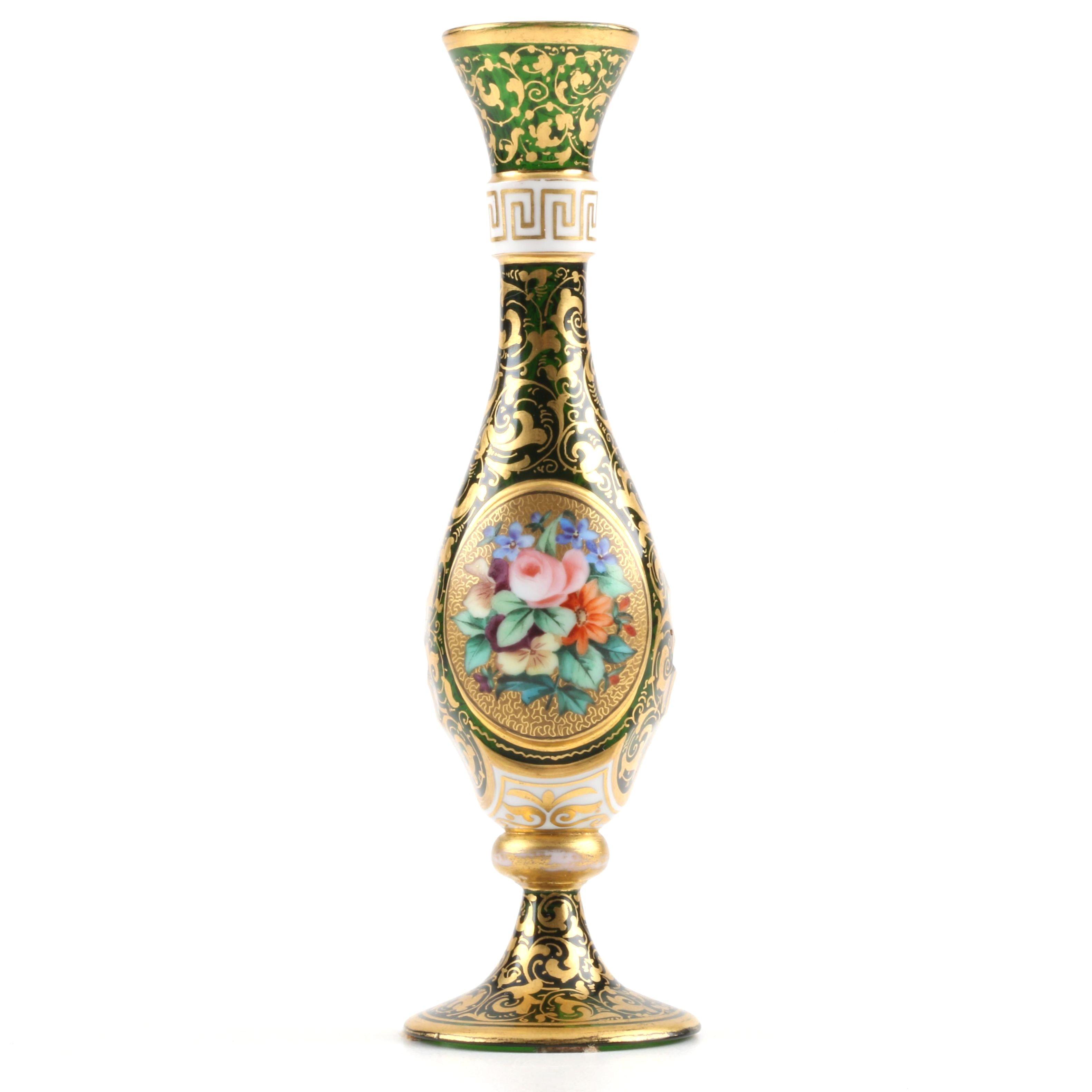 Miniature Bohemian Glass Bud Vase with Enamel Decoration