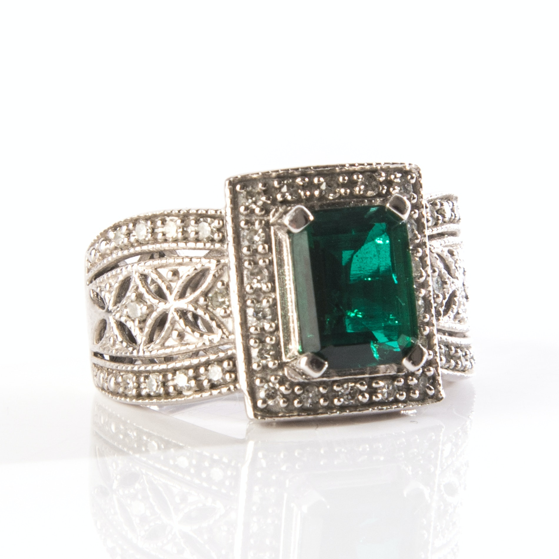 Sterling Silver Diamond Cocktail Ring with Lab Created Emerald