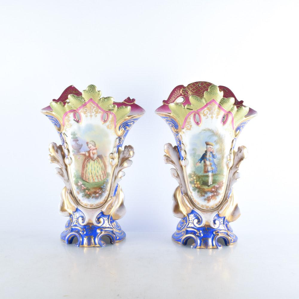 Old Paris Porcelain Oversized Mantel Vases