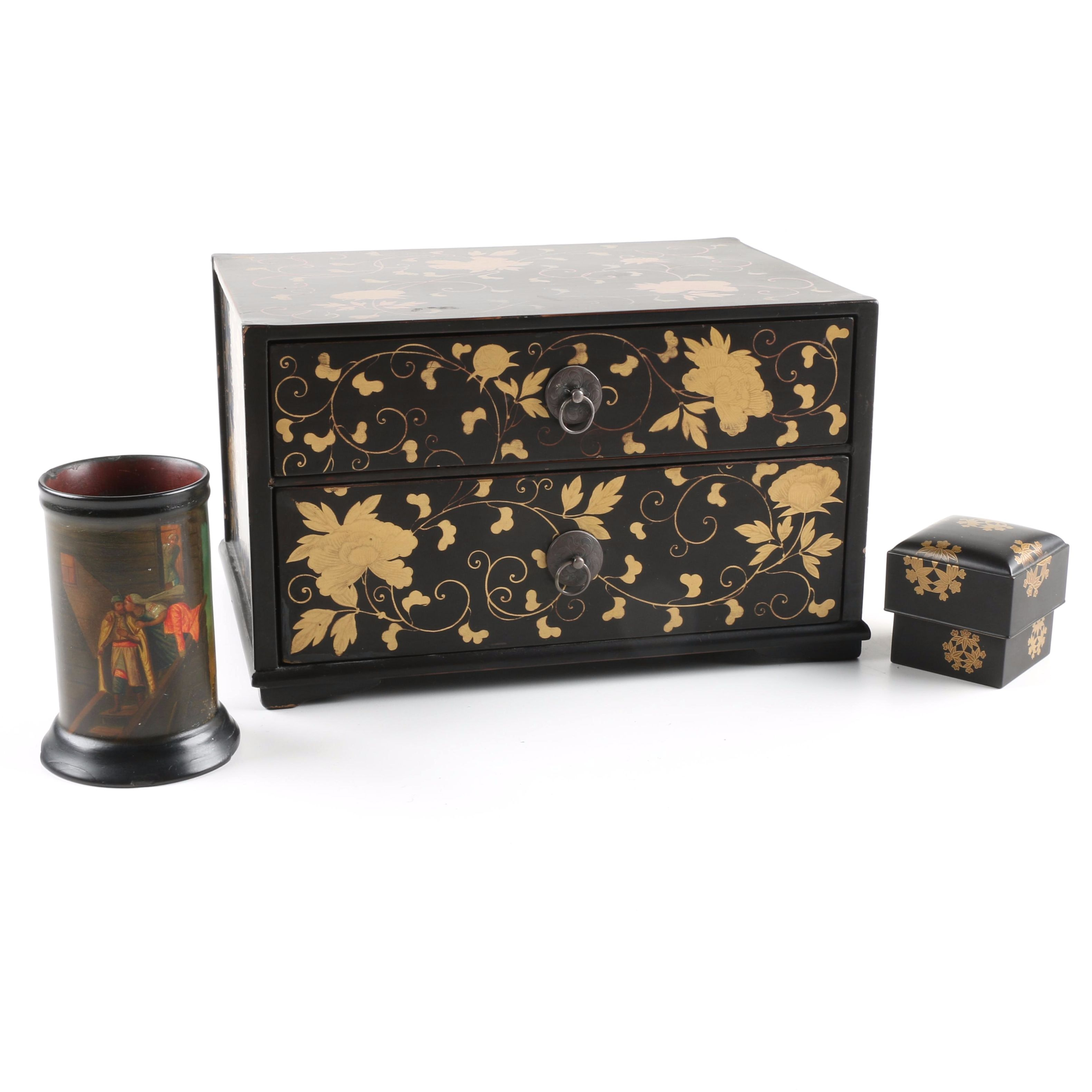 Asian Black Lacquer Boxes and Holder