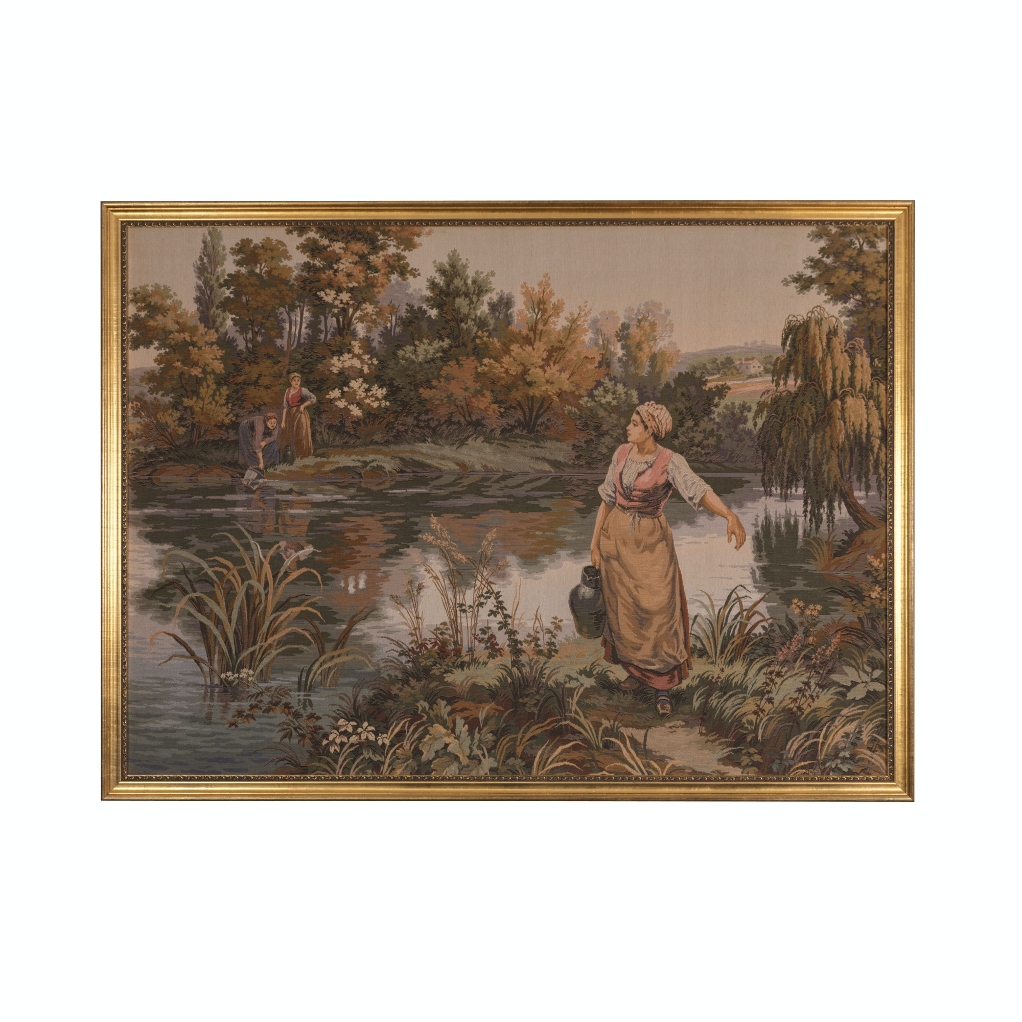 Needlepoint Tapestry of Women at a River