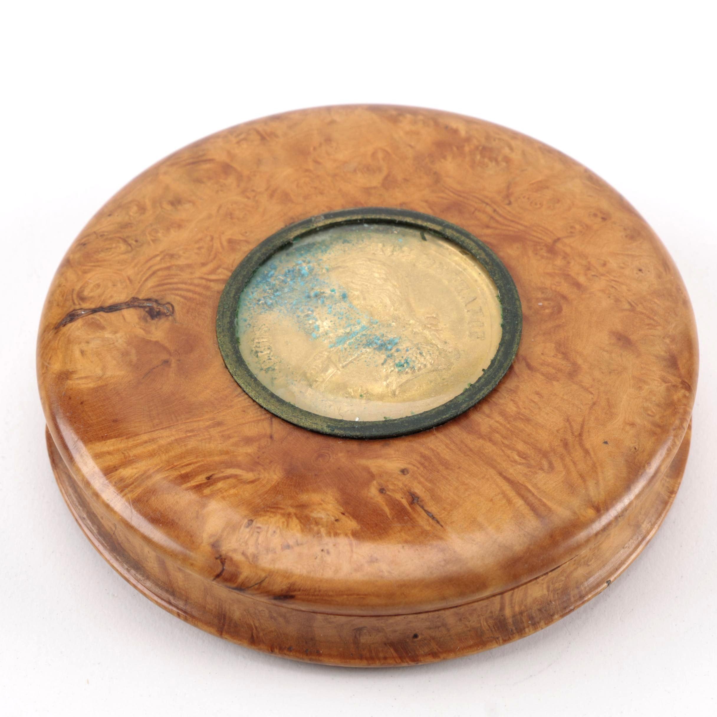 19th-Century Birdseye Maple Snuff Box With Tortoise Shell Insert