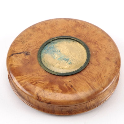 19th-Century Birdseye Maple Snuff Box With Tortoise Shell Insert