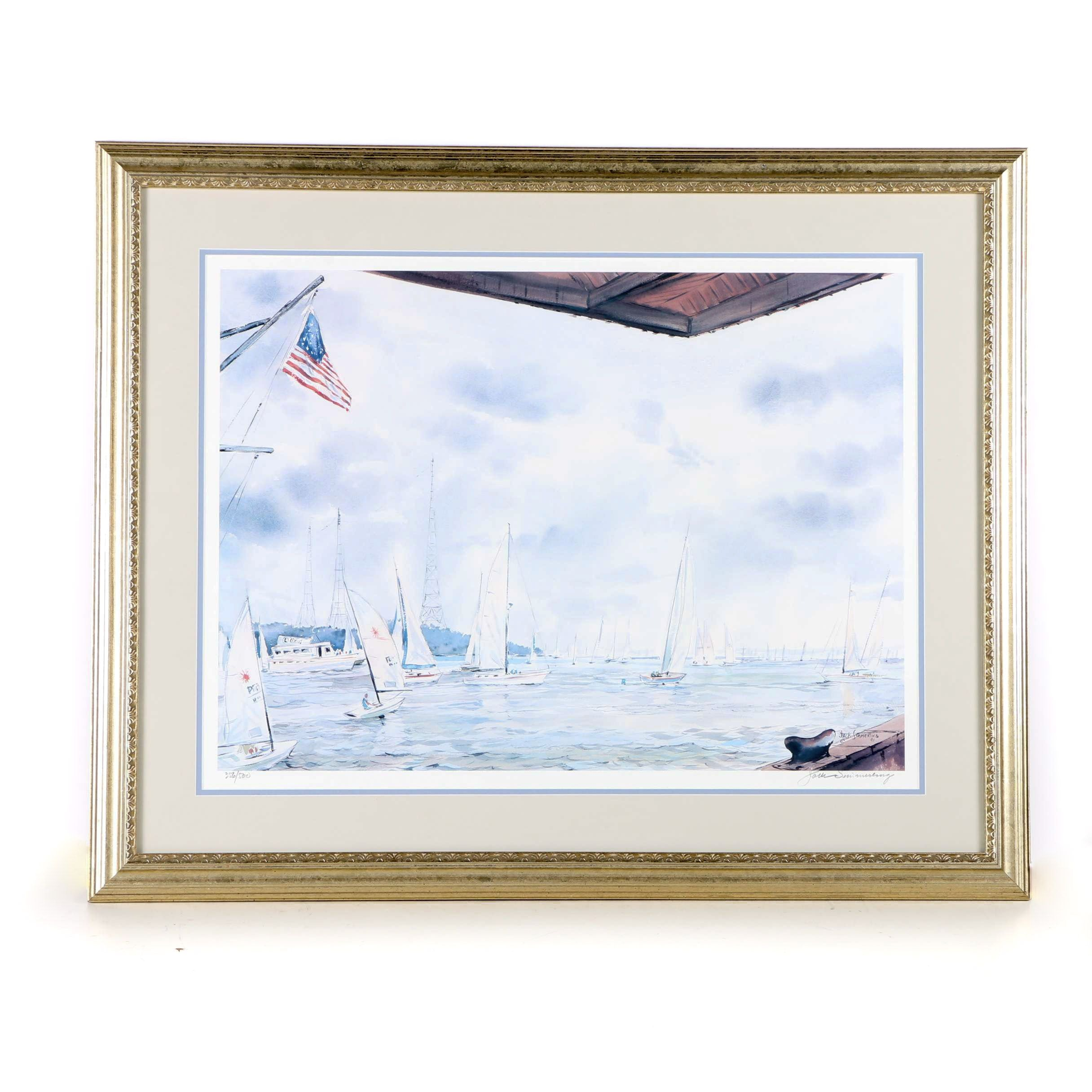 Jack Simmerling Limited Edition Offset Lithograph of a Sailing Regatta