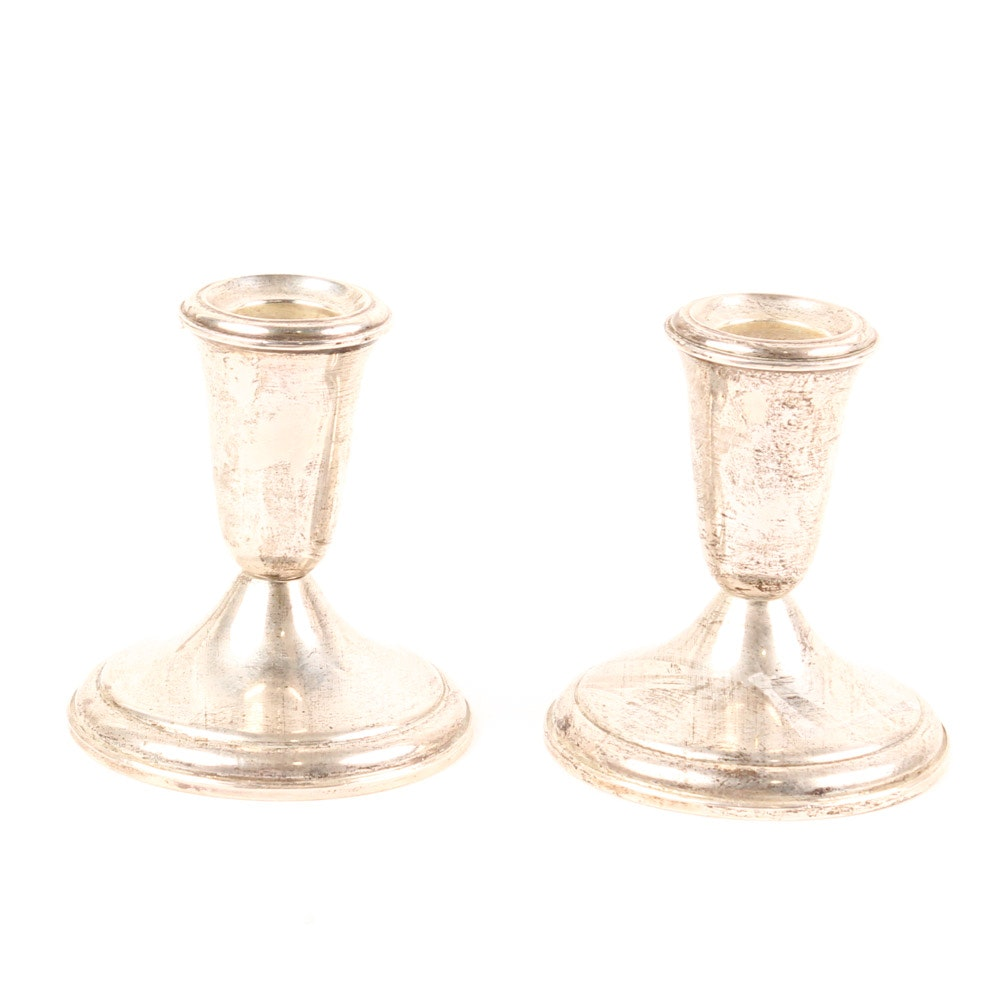 Crown Weighted Sterling Silver Candle Holders