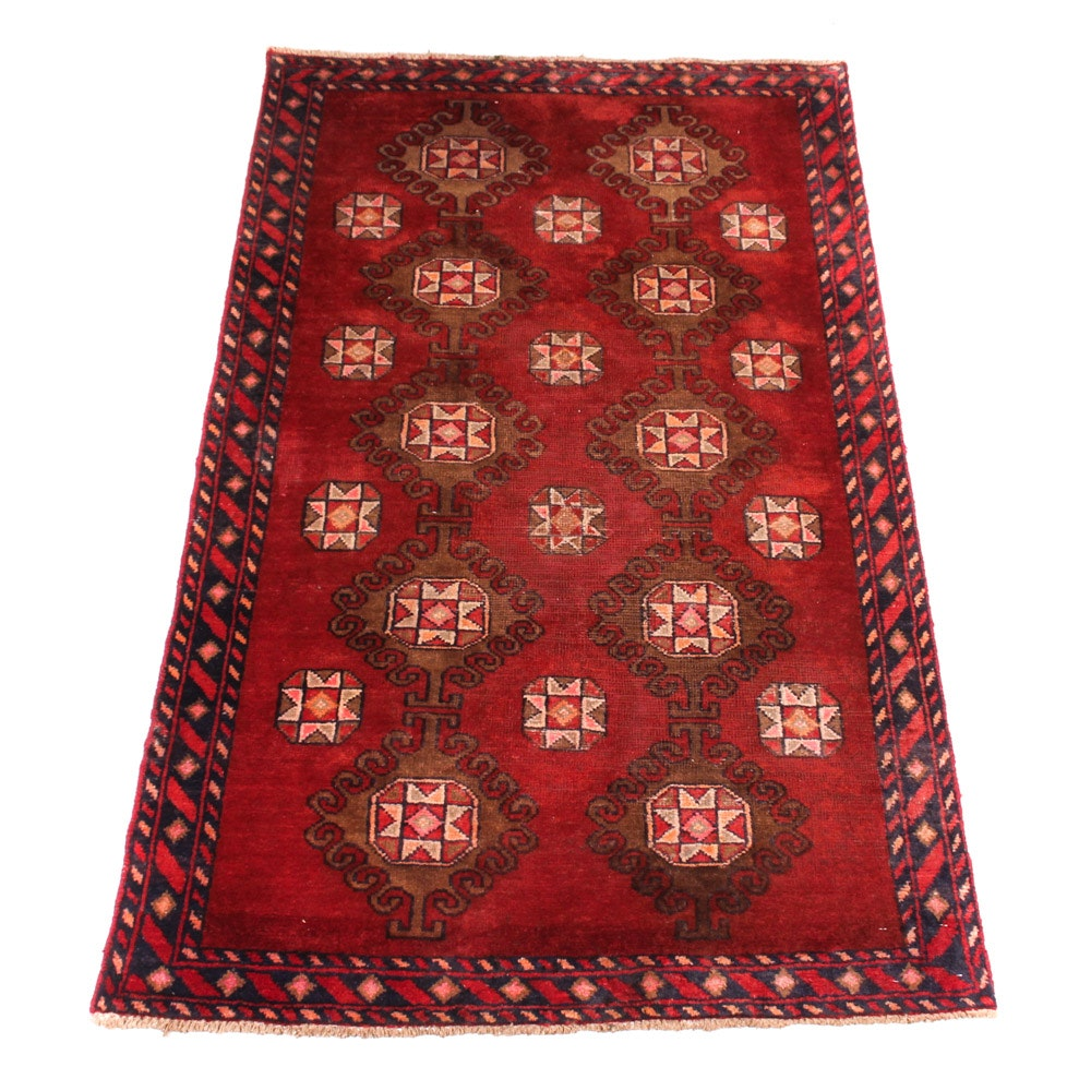 Semi-Antique Hand-Knotted Persian Kurdish Bijar Area Rug