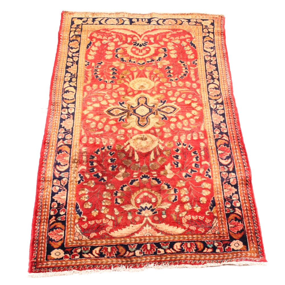 Semi-Antique Hand-Knotted Persian Malayer Sarouk Area Rug