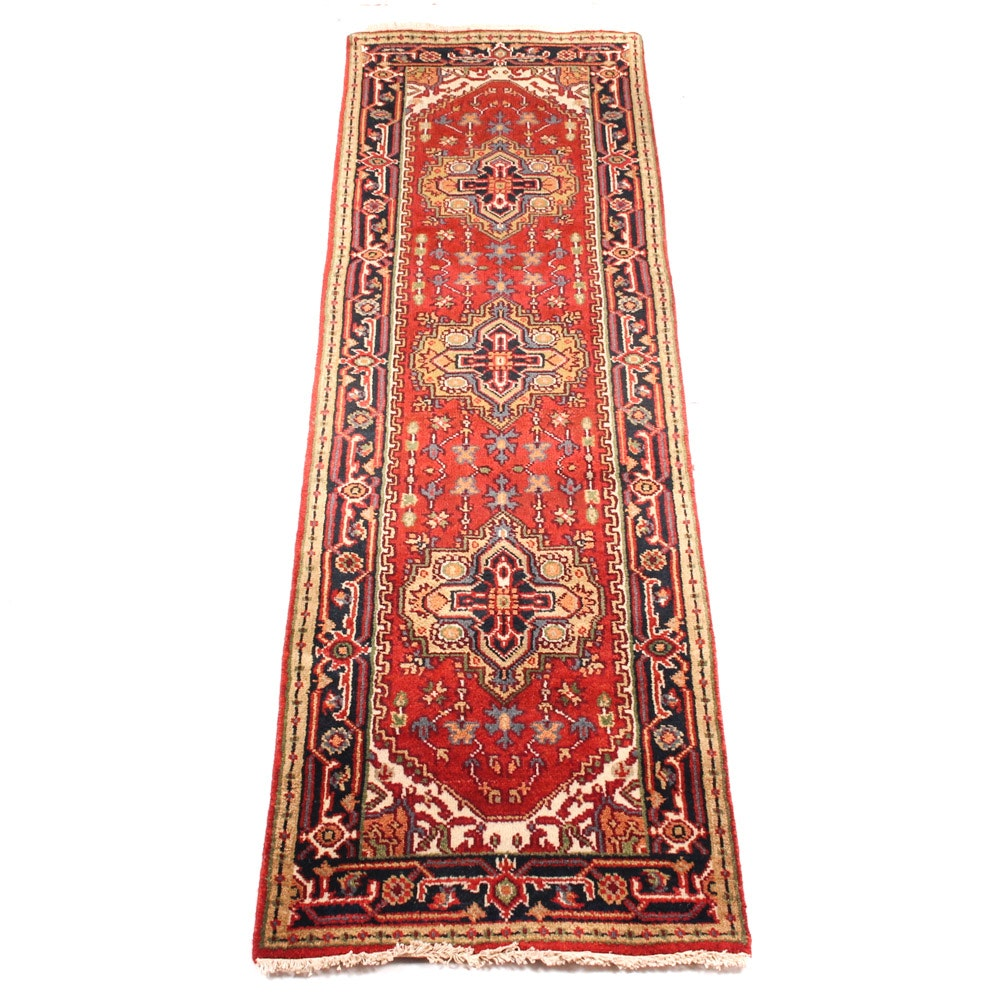 Hand-Knotted Indo-Persian Serapi Heriz Carpet Runner