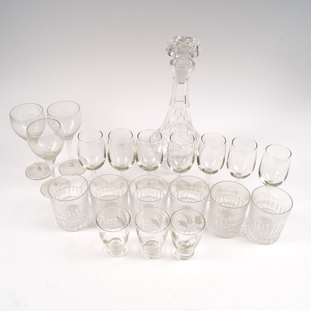 Etched Crystal Barware Service