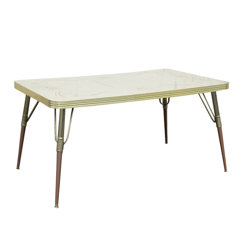 Mid-Century Laminate and Metal Extension Table by Wilchrome