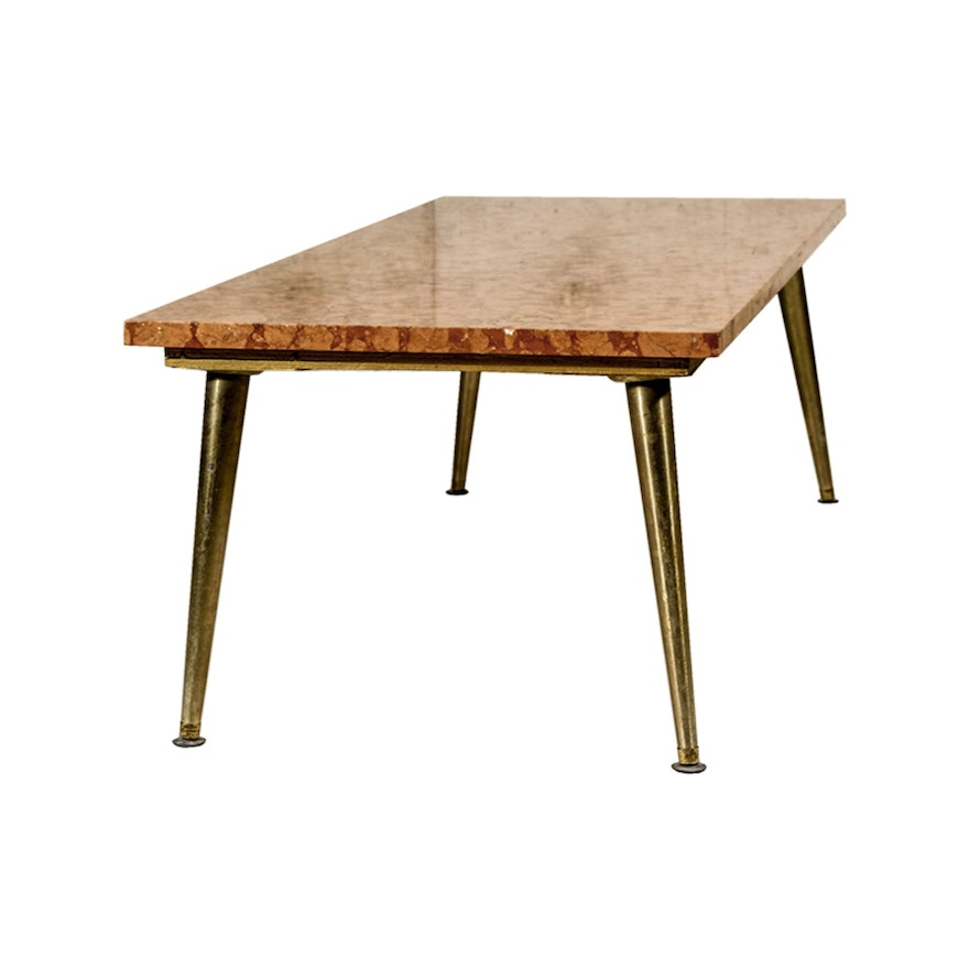 Verona Marble Coffee Table: Mid Century Modern Rosso Verona Marble Top Coffee Table