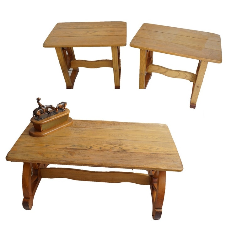 Rustic Vintage Coffee Table And Matching End Tables Ebth