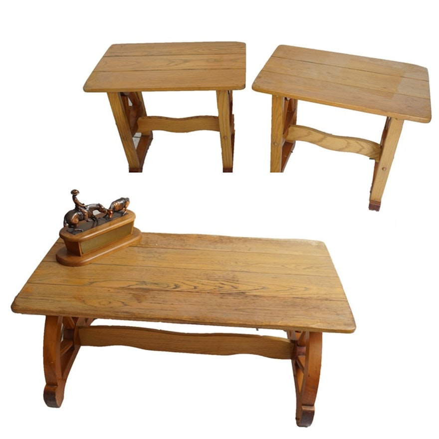 new style 02a04 07323 Rustic Vintage Coffee Table and Matching End Tables