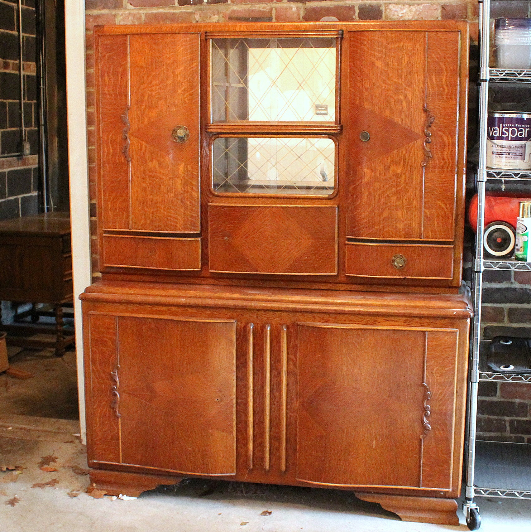 Period Art Deco Oak Breakfront