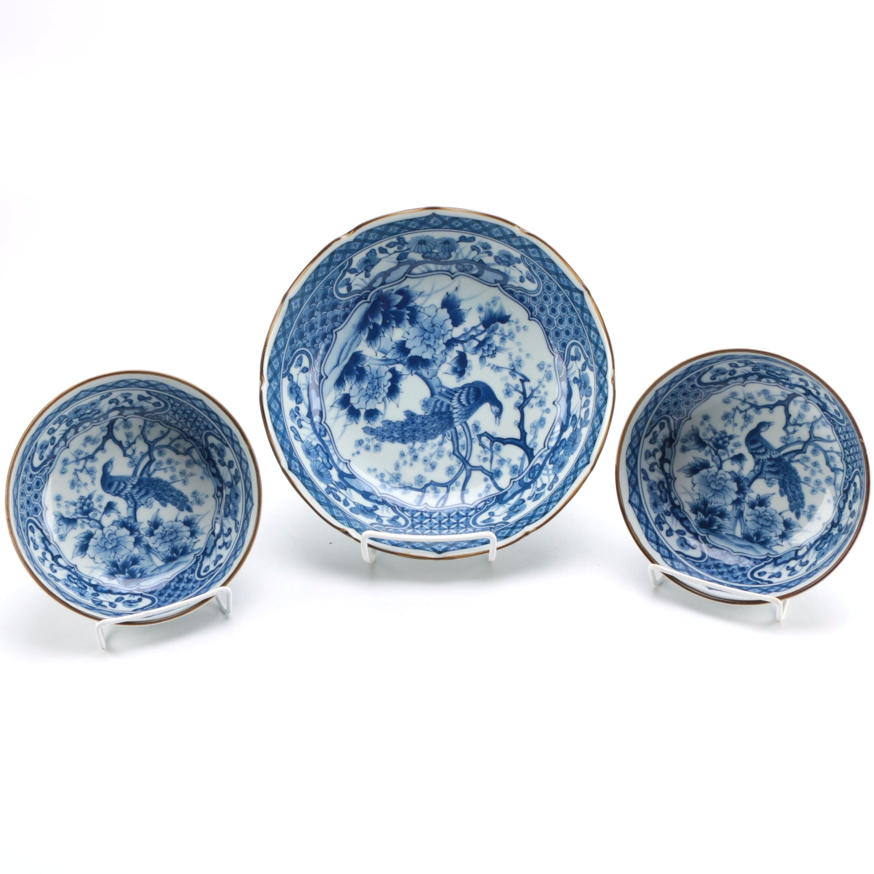 Japanese Blue and White Peacock Bowl Set