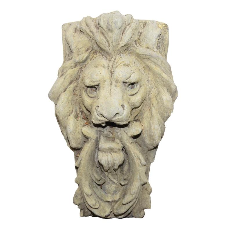 Plaster Lion Head Wall Sculpture