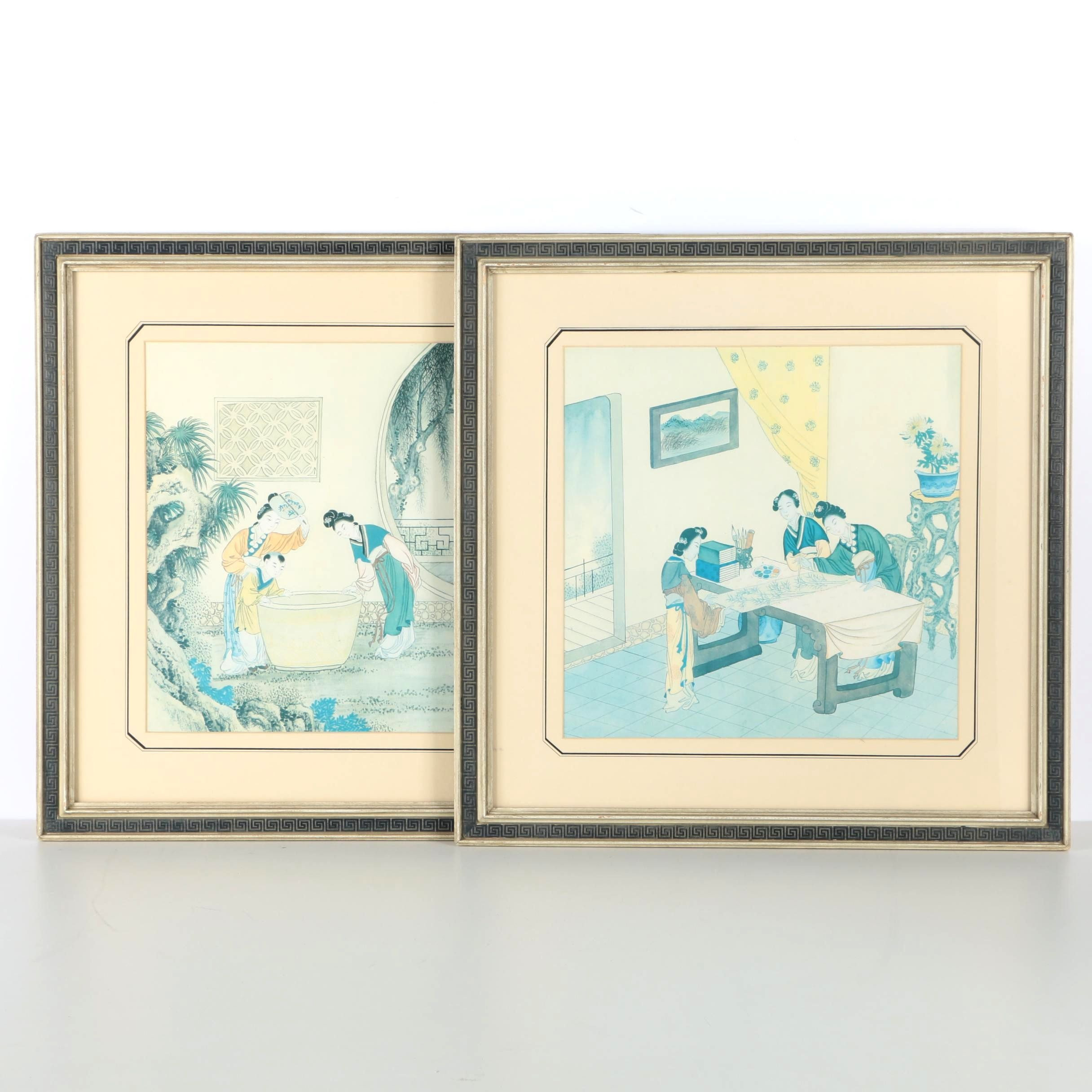 Two Offset Lithograph Prints after Chinese Scrolls