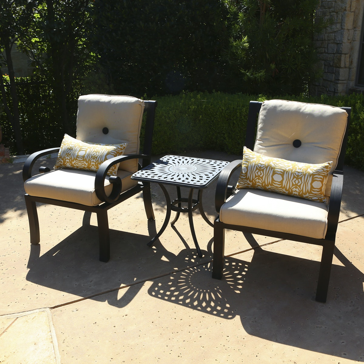 Pair of Patio Chairs and Side Table