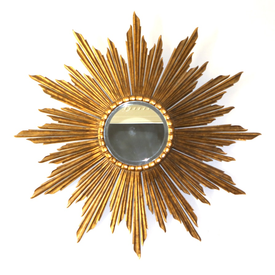 Italian Mirror with Large Carved Starburst Mount