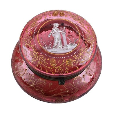 Late 19th Century Cranberry Glass Powder Box