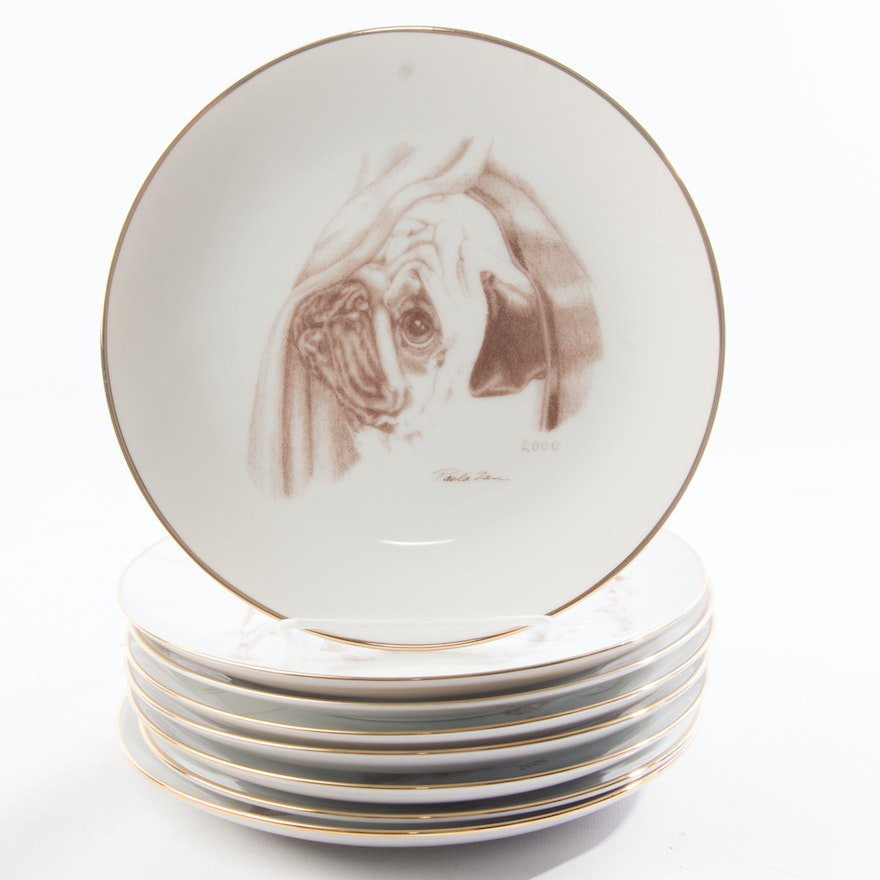 Limited Edition Laurelwood Collection Pug Plates Ebth