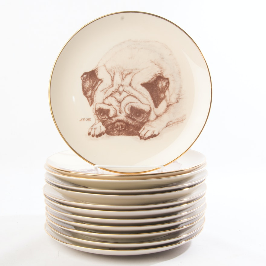Limited Edition Laurelwood Collection The Pug Plates Ebth