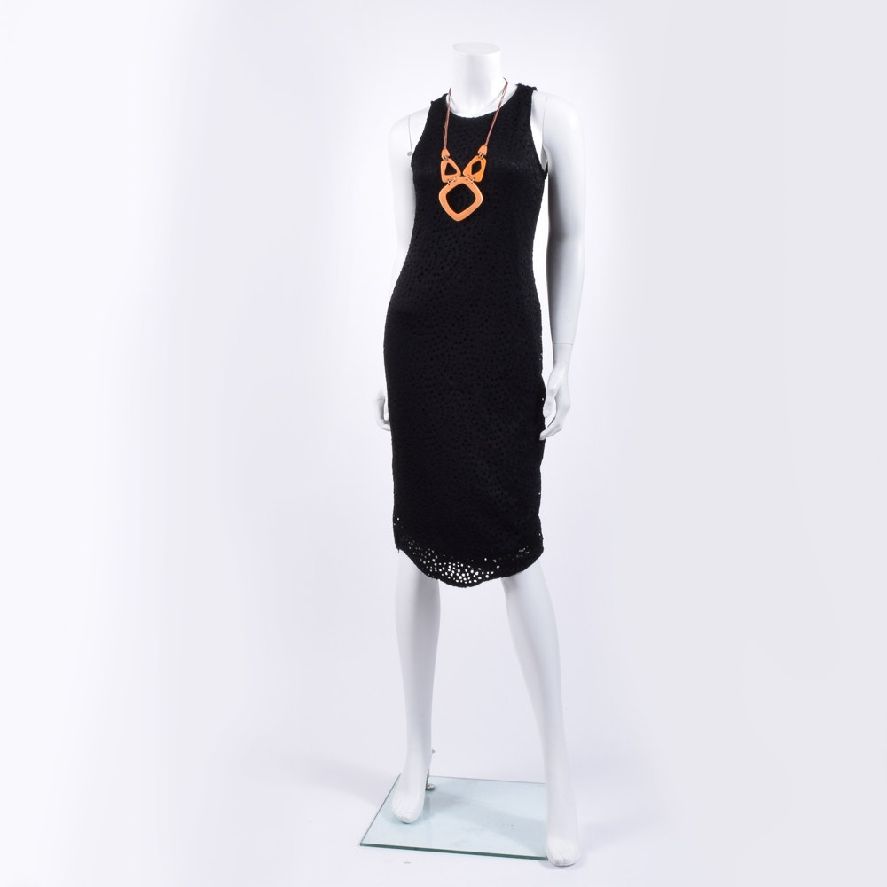 Pam McMahon Black Lace Dress and African Inspired Necklace