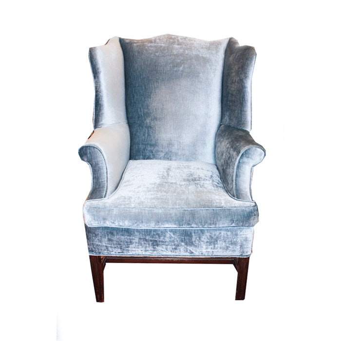 Blue Velvet Chippendale Style Wingback Chair