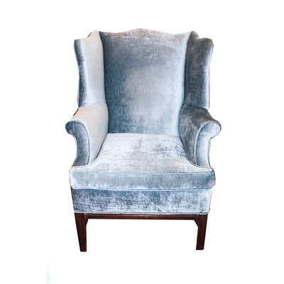 Blue Velvet Chippendale Style Wingback Chair