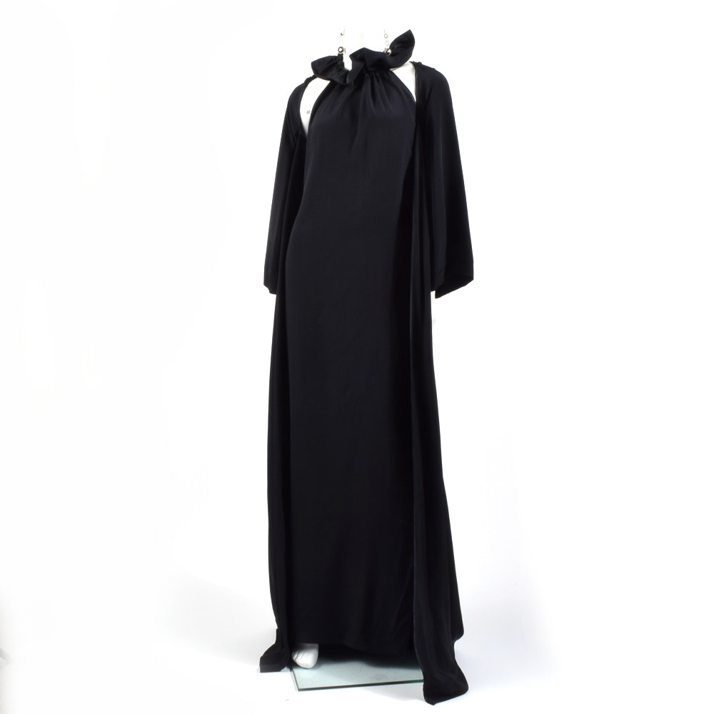 Pam McMahon Couture Evening Gown and Half Coat with Earrings