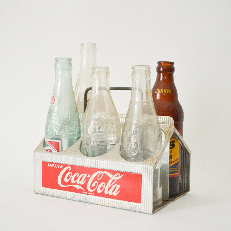 Vintage Soda Bottles in Coca-Cola Carrier