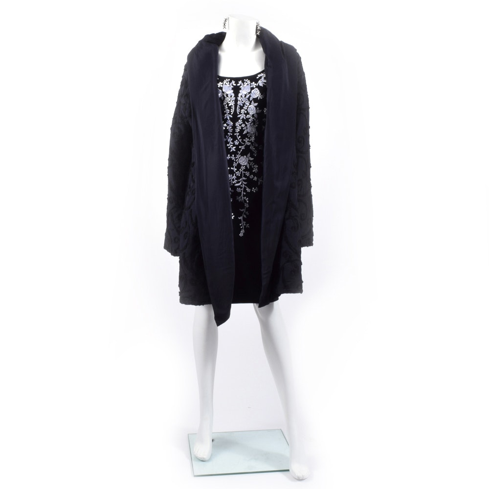 Maggie of London and Vera la Pazzo Couture Dress and Coat with Earrings