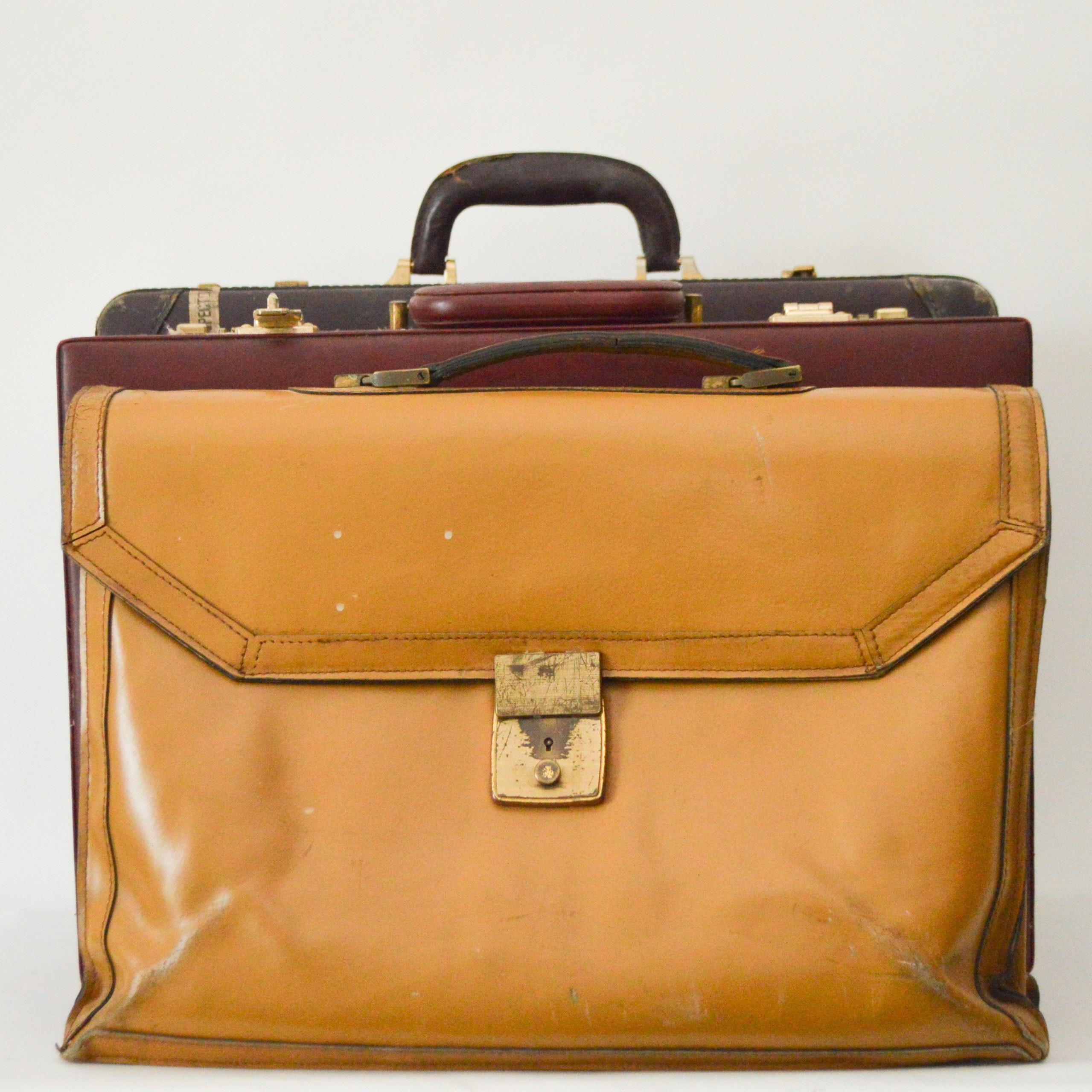 Vintage Leather Locking Briefcases