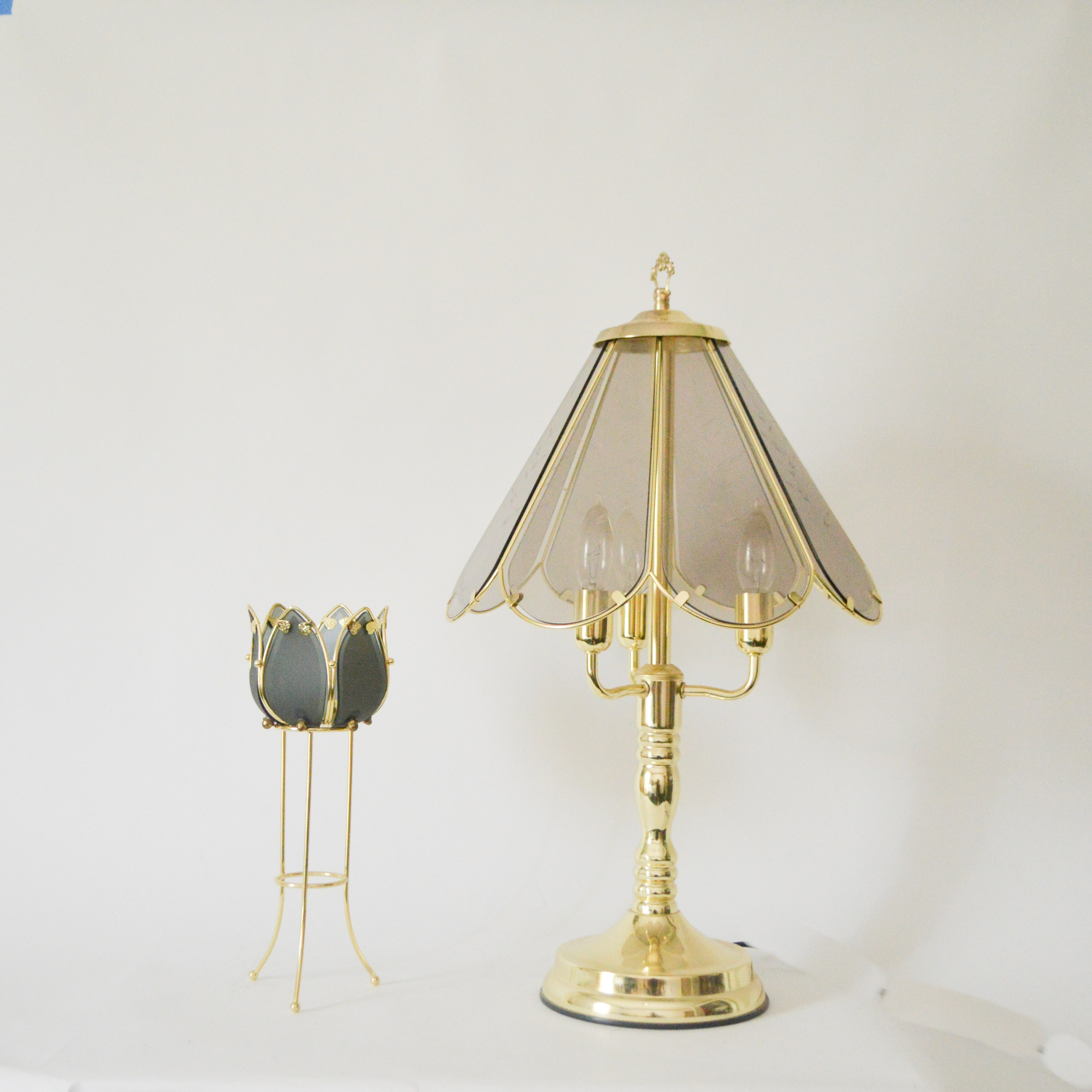 Glass and Brass Touch Table Lamp and Candle Holder